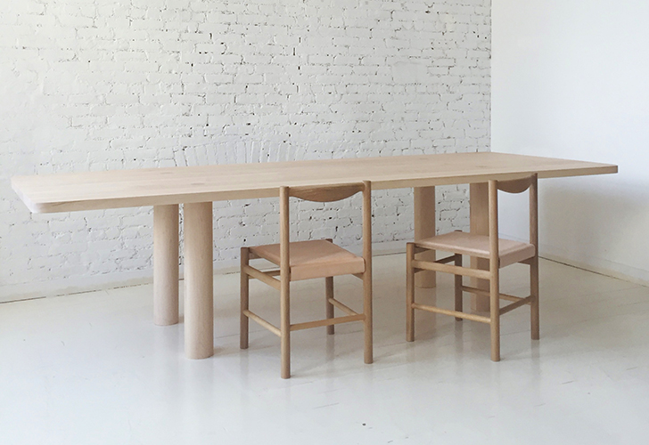 column dining table straight leg